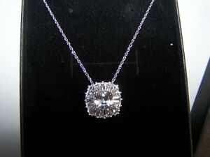 NEW KAY JEWELERS SAPPHIRE CLUSTER W/BAGUETTES  STERLING SILVER PENDANT & CHAIN