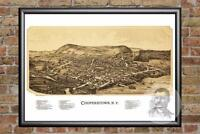 Vintage Cooperstown, NY Map 1890 - Historic New York Art - Victorian Industrial