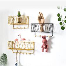 Wall Storage Hooks Shelf Bathroom Shelving Wrought Iron Towel Hangers Black Gold