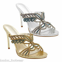 Womens Diamante Crystal High Heel Shoes Stiletto Ladies Sandals Party Prom New