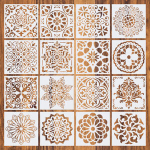 16pcs Mandala Drawing Dot Painting Templates Stencils Tool For DIY Art Decor UK