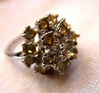 sz 5.5 Vtg 60s Stacked Rhinestone 12kt HGE Cocktail RING silvertone