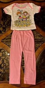 Vintage Girls Pajamas Thermal Pink Short Sleeve 2 Piece Pants Top 1980s Sz 5 / 6