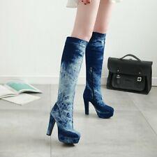 Womens Denim Knee-High Boots Super High Heels Fashion Side Zip Platform Shoes