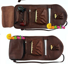 Portable Geninue Leather Tobacco Smoking Holder Pouch Bag Pipe Case FOR 2 PIPES