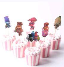 24pcs Cartoon Trolls Poppy DJ Suki Guy Diamond Branch candy bar cupcake toppers