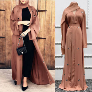 Abaya Eid Islamic Women Cardigan Muslim Long Dress Open Kimono Dubai Kaftan Robe