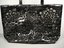 Nancy Gonzalez Black Crocodile Laser Cut PVC Large Handbag Purse Tote Authentic