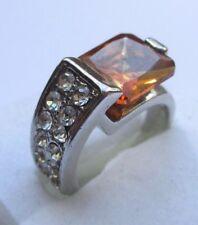 bague bijou vintage couleur argent rhodié diamants cristal orange Taille 52 p