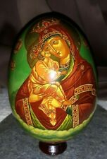 Russian hand painted lacquered Orthodox very collectible egg with stand