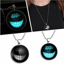 Stainless Steel Chain We Are All Mad Here Smiling Glow In Dark Pendant Necklace