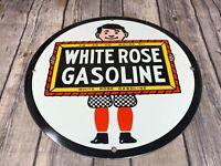 """VINTAGE WHITE ROSE GASOLINE ADVERTISING SIGN METAL PORCELAIN 12"""" GAS & OIL PUMP"""