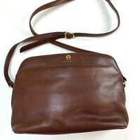 Etienne Aigner Purse Handbag Brown Leather Shoulder Purse Zips Close Medium