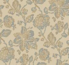 Wallpaper Designer Metallic Silver and Tan Jacobean Floral on Beige Background