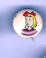 1946 pinback  JUDY  pin Kelllogg's Breakfast  Cereal PEP button Premium
