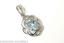 9ct White Gold Celtic Blue Topaz Pendant Gift Boxed Necklace