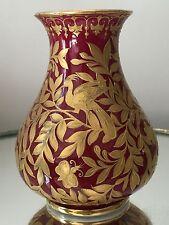 Antique 19C Royal Crown Derby GOLD GILT Handpainted Bird Butterfly Mini VASE