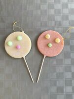 Vintage Lot of 2 Sugared Coated Christmas Tree Ornament Lollipops Colorful RARE