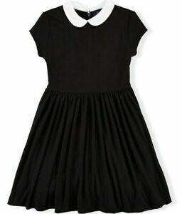 NEW Polo Ralph Lauren Girls Peter Pan White  Collar Black Fit & Flare Dress  6