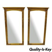 Pair of Vintage Gold French Style Tassel Frame Wall Mirrors Wood & Gesso 45 x 24