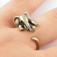 bronze Elephant ring retro Love band cuff wrap Ring Jewellery open adjustable