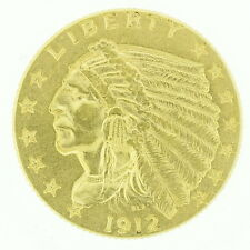 1912 US $2 1/2 Dollar Gold Indian Head Currency Bullion Coin