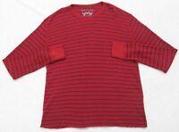 Thermal Shirt Red Blue Long Sleeve XL Camel Cotton Striped Crewneck Tee T-Shirt