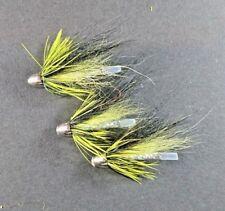 3 x black and yellow conehead salmon flies