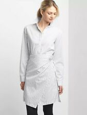 NWT Gap Dobby wrap-skirt shirtdress, black stripe SIZE S         #192749 E220