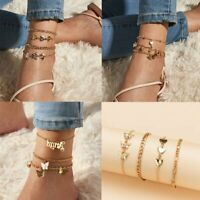 4Pcs Boho Heart Butterfly Ankle Bracelet Women Anklet Chain Foot Beach Jewelry