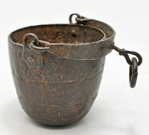 Antique Iron Well Water Bucket Original Old Hand Crafted Engraved