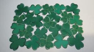 St. Patrick's Day Placemat Green Shamrocks Clovers Cut Outs Gold Embroidery NEW