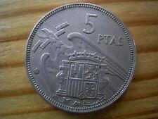 ESPAÑA: 5 PESETAS FRANCISCO FRANCO. AÑO 1957 *19-63*. BC+. MUY RARA Y ESCASA.