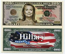 Hillary Clinton for President 2016 1 Million Dollars Colored Novelty Bill