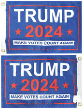 """Trump 2024 Make Votes Count Again Blue Double Sided 100D 12""""x18"""" Poly Boat Flag"""