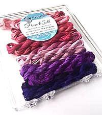 Kreinik French Silk Set for Needlecrafts ~ Berry 14 Skeins 2.5 m of each #4206