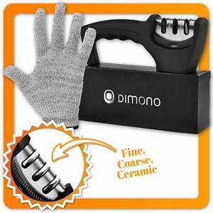 Profi 3-Stufen Diamant Messerschärfer - Hand Messerschleifer + Handschuh DIMONO