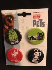 The Secret Life Of Pets Button Pin Set Of 4 Illumination