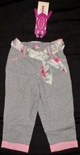 NWT Beetlejuice SUMMER TEA PARTY 4 4T Capris Pants Gray Pink Polka Dot Boutique