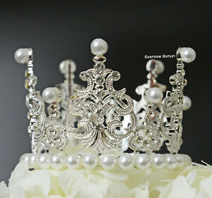 Silver JEWELED CROWN BIRTHDAY CAKE TOPPER DECORATION PRINCESS PRINCE BABY SHOWER