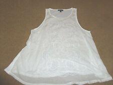 TOP SHOP white cotton lacey tank top women's size 4