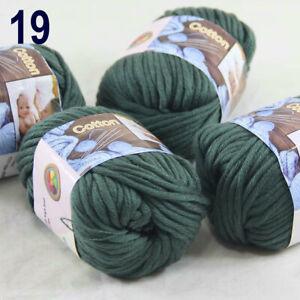 Lot 4 SkeinsX50gr Cotton Baby Chunky Double Knitting Scarves & Crochet Yarn 19