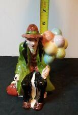 "Vintage Clown, ""Balloon Man"", Porcelain Ceramic Figurine"