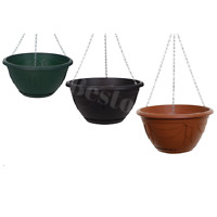Plastic Hanging Basket Garden Flowers Plant Pot Wall Fence Planters With Chain