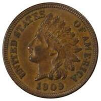 1909 Indian Head Cent AU About Uncirculated Bronze Penny 1c Coin Collectible