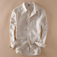 Mens Linen Cotton Long Sleeve Slim Fit Shirts Thin Sunscreen Travel Shirts New