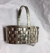 Vintage Collectible Silver Overlay Woven Oval Basket