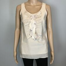 Women's J Crew Cream Cotton Silk Bow Ruffle Sleeveless Top SZ 0 $88
