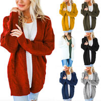 Women Boho Long Sleeve Open Front Warm Cardigans Pointelle Pullover Cozy Sweater