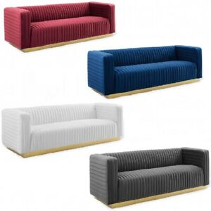 Velvet Sofa Couch Channel Tufted Vintage Glamour Gold Base Maroon Blue White Gry